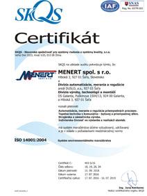 Certifikát 14001